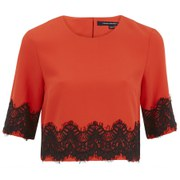 French Connection Women's Linea Lace Cropped Top - Riotred/Black