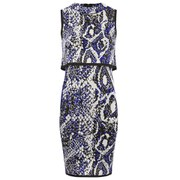 French Connection Women's Spotlight Boa High Neck Dress - Monarch Blue