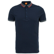 BOSS Orange Men's Playton Tipped Collar Polo Shirt - Navy
