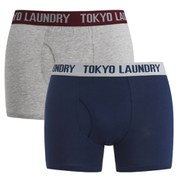 Tokyo Laundry Men's 2 Pack Sports Boxers - Medieval Blue/Grey