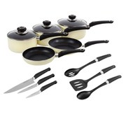 Morphy Richards 5 Piece Pan Set with Tools - Cream
