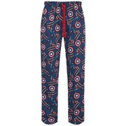Marvel Men's Captain America All Over Print Lounge Pants - Blue