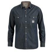 Urban Beach Men's Stack Long Sleeve Denim Shirt - Dark Blue