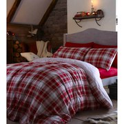 Catherine Lansfield Tartan Brushed Bedding Set - Red