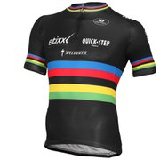 Vermarc Etixx-Quick Step World Champion Short Sleeve Full Zip Jersey - Black
