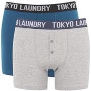 Tokyo Laundry Men's 2-Pack Dwight Boxers - Petrol Blue/Light Grey Marl