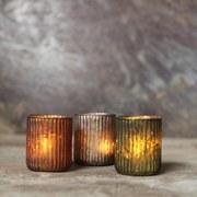 Nkuku Adari Ribbed Tea Light Holders (Set of 3)