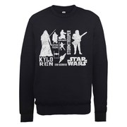 Star Wars The Force Awakens Monochrome Villains Characters Sweatshirt - Black