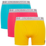 Crosshatch Men's Requisite 3 Pack Boxers - Teaberry/Lemon Chrome/Suba Blue