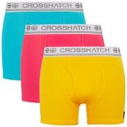 Crosshatch Men's Requisite 3 Pack Boxers - Teaberry/Lemon Chrome/Suba Blue