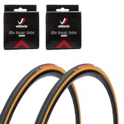 Vittoria Open Corsa SC Clincher Road Tyre Twin Pack with 2 Free Inner Tubes - Black - 700c x 25mm