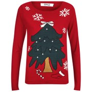 ONLY Women's Christmas Tree Christmas Jumper - True Red