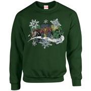 Marvel Kids' Comics Christmas Thor Iron Man Hulk Sweatshirt - Forest Green