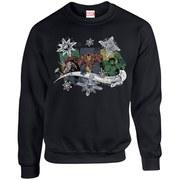 Marvel Comics Christmas Thor Iron Man Hulk Sweatshirt - Black