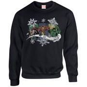 Marvel Kids' Comics Christmas Thor Iron Man Hulk Sweatshirt - Black