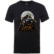 DC Comics Men's Batman Arkham Knight Halloween Moon T-Shirt - Black