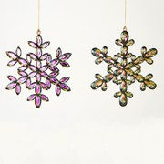 Gisela Graham Snowflake Decoration - Acrylic Peacock (Set of 2)