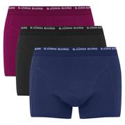 Bjorn Borg Men's Seasonal Basic 3 Pack Boxer Shorts - Beet Red