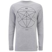 Crosshatch Men's Twitch Graphic Longline Sweatshirt - Grey Marl