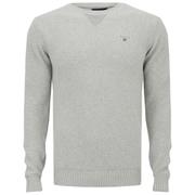 GANT Men's Basketweave Cotton Crew Neck Knit - Light Grey