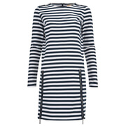 MICHAEL MICHAEL KORS Women's Zip Detail Stripe Dress - New Navy/White