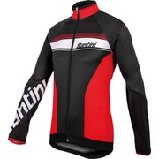 Santini Fluke Thermofleece Long Sleeve Jersey - Black/Red