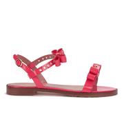 REDValentino Women's Eyelet Bow Flat Sandals - Fuchsia