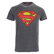 DC Comics Men's Superman Burnout T-Shirt - Charcoal/Grey