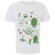 Star Wars Men's Yoda Festive Galaxy T-Shirt - White