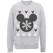 Disney Mickey Mouse Christmas Silhouette Snowflake Sweatshirt -  Heather Grey