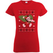 Disney Mickey Mouse Christmas Tree Women's T-Shirt - Red
