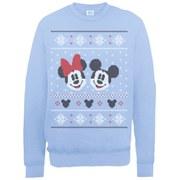 Disney Mickey Mouse Christmas Mickey And Minnie Sweatshirt -  Light Blue