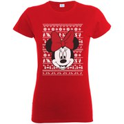 Disney Mickey Mouse Women's Christmas Minnie Head T-Shirt - Red