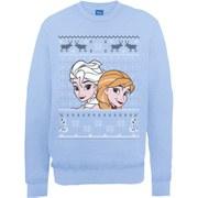 Disney Frozen Christmas Elsa And Anna Sweatshirt -  Light Blue