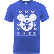 Disney Mickey Mouse Men's Christmas Silhouette Snowflake T-Shirt - Royal Blue