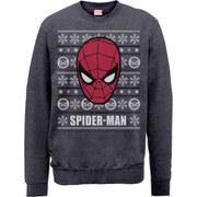 Marvel Comics Spider-Man Face Sweatshirt - Dark Heather