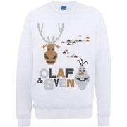 Disney Frozen Christmas Olaf And Sven Pixelated Sweatshirt -  White