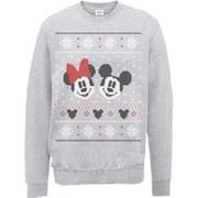 Disney Mickey Mouse Christmas Mickey And Minnie Sweatshirt -  Heather Grey
