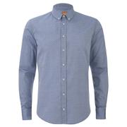 BOSS Orange Men's Edipoe Patterned Long Sleeve Shirt - Navy