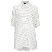 VILA Women's Very Short Sleeve Stripe Shirt - Snow White