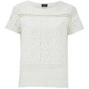 VILA Women's Bassi Short Sleeve Lace Top - Snow White