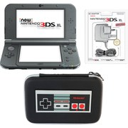 New Nintendo 3DS XL Metallic Black + Retro NES Controller Case Pack