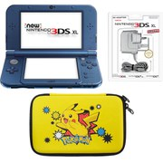 New Nintendo 3DS XL Metallic Blue + Pickachu Case Pack