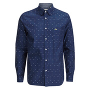Lacoste Men's Poplin Long Sleeve Shirt - Navy