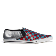 Marc Jacobs Women's Delancey Sequins Embroidered Slip-On Trainers - Aqua/Red
