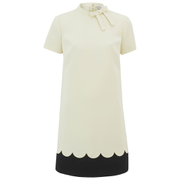 REDValentino Women's Scalloped Edge Tie Neck Dress - White
