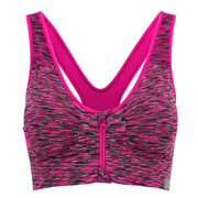 Myprotein Women's Medium Support Zip Front Sports Bra - Pink Marl
