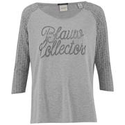 Maison Scotch Women's 3/4 Sleeve Logo T-Shirt with Logo Burnout Artwork - Grey
