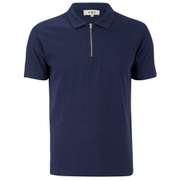 YMC Men's Perforated Zip Polo Shirt - Navy