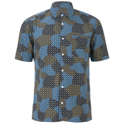 YMC Men's Spot Cloud Short Sleeve Shirt - Blue